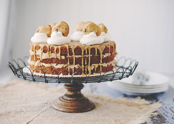 layer cake with cookie dough filling salted caramel icing brown sugar ...