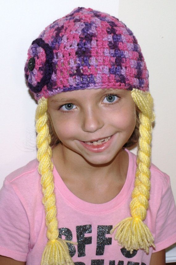 Crochet Braids Yarn : Crochet hat with attached braids- yarn hair- costume accessories- pho ...