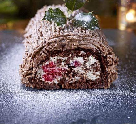 Bûche de Noël - sumptuous chocolate, raspberry and cream sponge ...