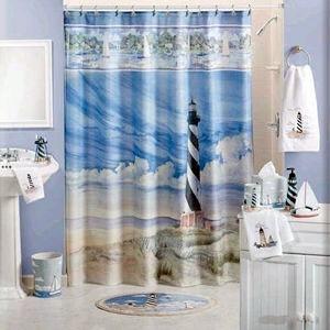 Nautical themed shower curtains curtains drapes blinds for Lighthouse themed bathroom ideas