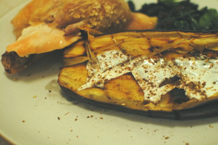 Roasted eggplant with buttermilk dressing