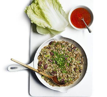 ... lettuce as a wrap. Pack full with spiced pork, mushrooms, rice and