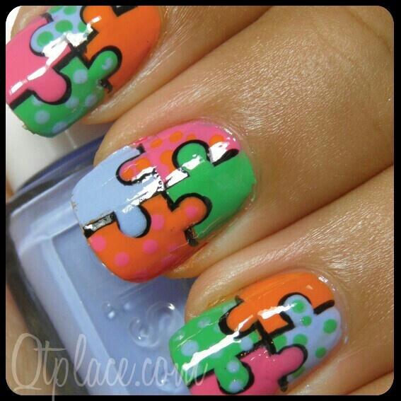 Jigsaw nail art | Nails | Pinterest