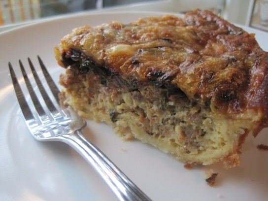 Red Chard and Spicy Sausage Quiche...I have some chard and had no idea ...