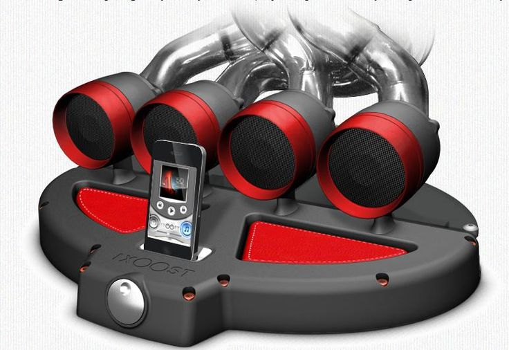 Car exhaust speakers/docking station for the iPod and iPhone by iXoost