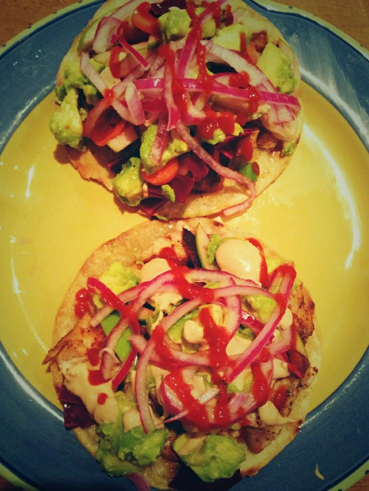 chicken tostadas: organic chicken thighs marinated in smoked paprika ...