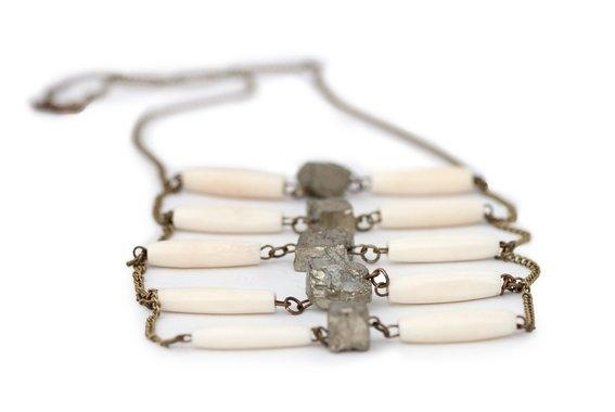 Pyrite and bone stacked necklace   Jewelry Inspirations: Pendants   P ...