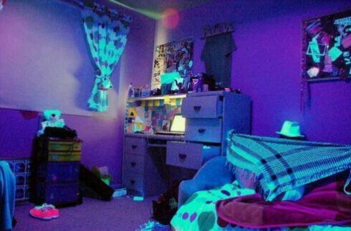 neon room glow in dark pinterest
