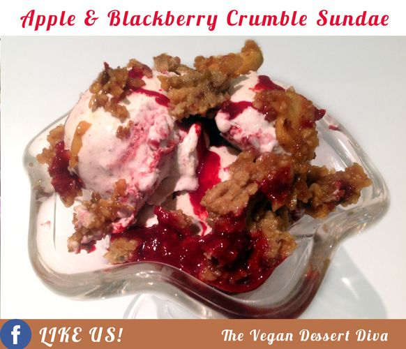 ... crumble but as a sundae with organic vegan vanilla ice cream. Oh MY