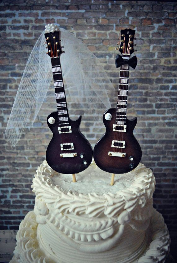 Electric Guitar Wedding Cake Topper Guitar Bride Groom Rock And Roll