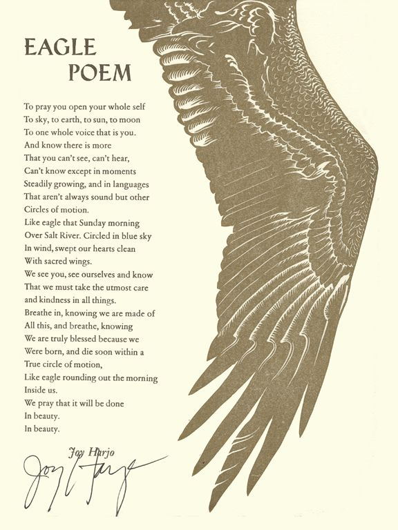 eagle poem joy harjo Under each bird name, the poems are arranged chronologically first lines are  also given below each poem  eagle poem --joy harjo (us [native american ].
