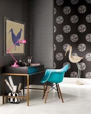 Pop of turquoise and pink, wall paper:)
