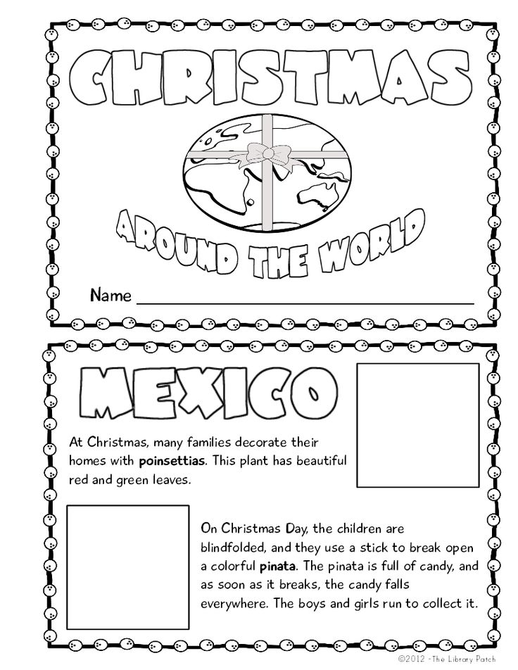 Coloring Sheets For Christmas Around The World Holidays around