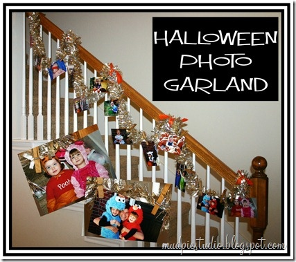 diy halloween photo garland - bring in those cute pictures from halloweens gone by. SUPER cute !!
