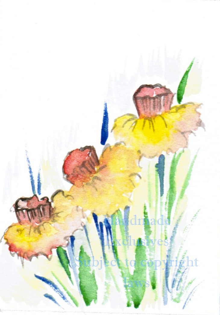 Daffodils floral art Watercolor flowers by HandmadeExclusives