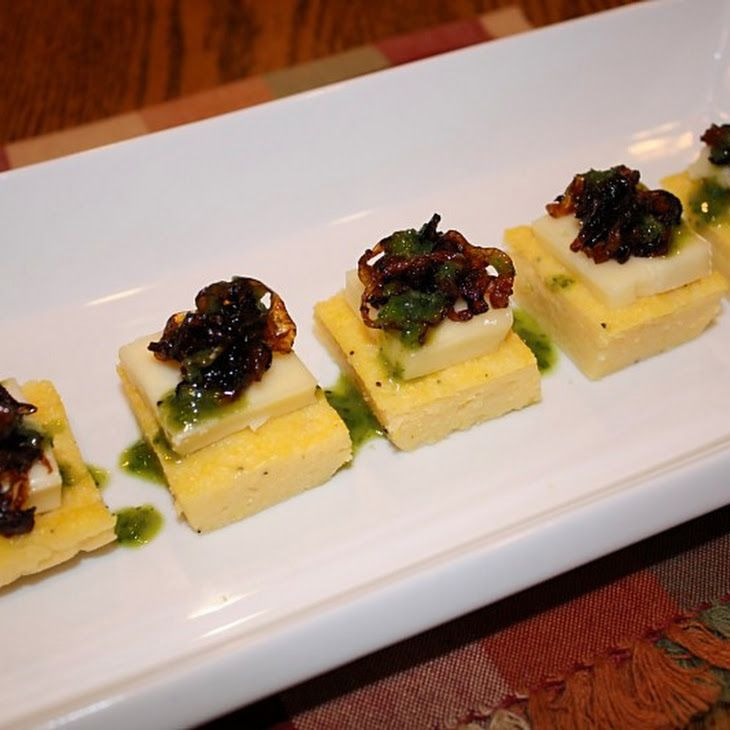 Polenta Cakes with Caramelized Onions, Brie and Basil Oil Recipe