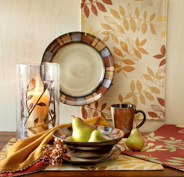 Pier 1 Mosaic Dinnerware with Leaves Placemats in Honey and Red