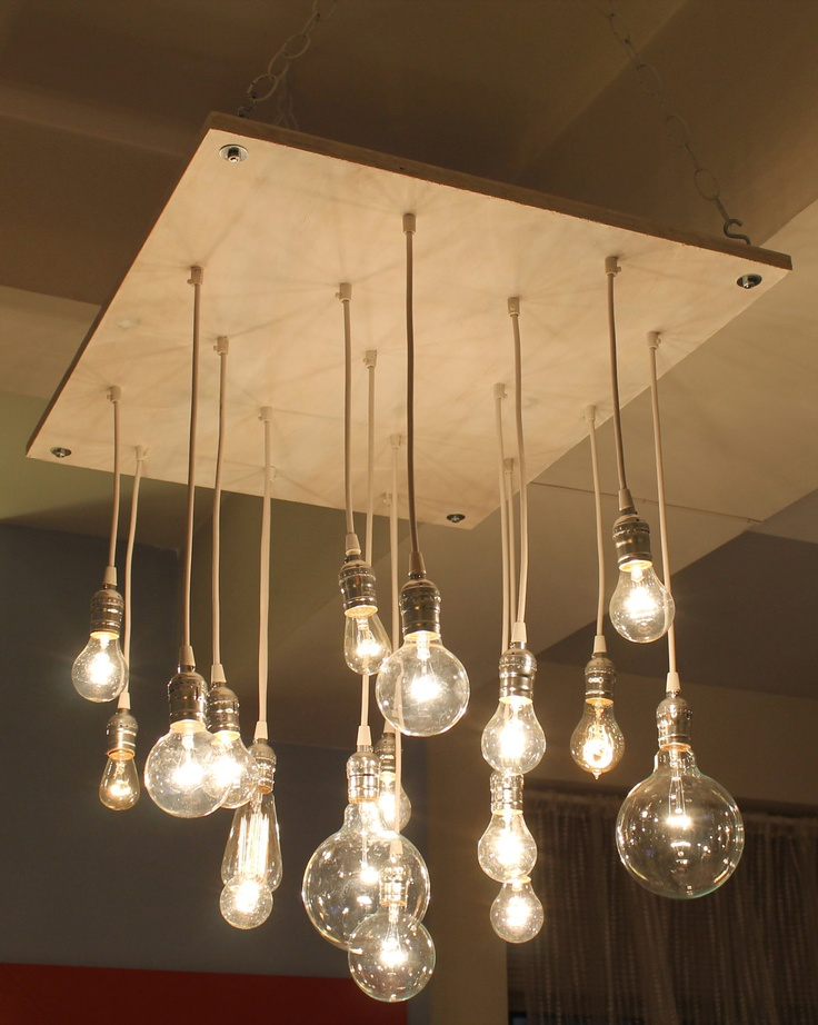 Urban Whitewash Chandelier With Varying Edison Style Bulbs