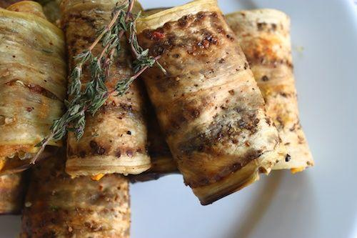 Quinoa Stuffed Eggplant Rolls with Sweet Potato Curry Sauce
