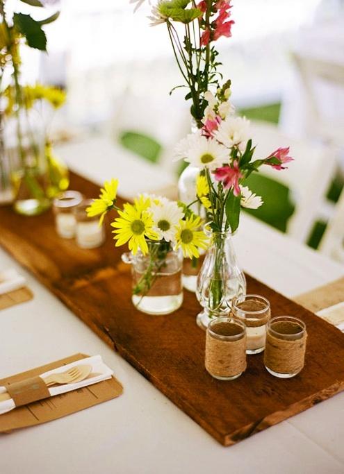 Wooden planks as table runners mrs pinterest - Pinterest deco table ...
