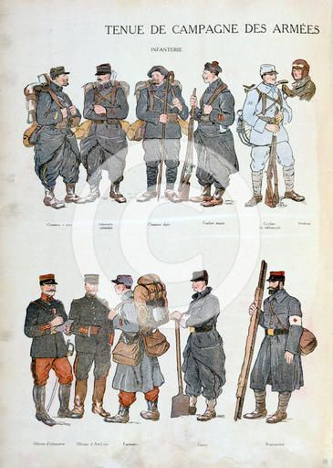 French army uniforms, World War One, 1914. Sadly the red trousers made ...
