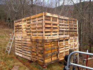 Goat barn made from pallets