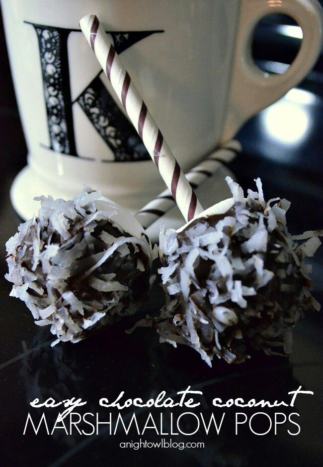 Love these chocolate covered coconut marshmellow pops!!! Bebe ...