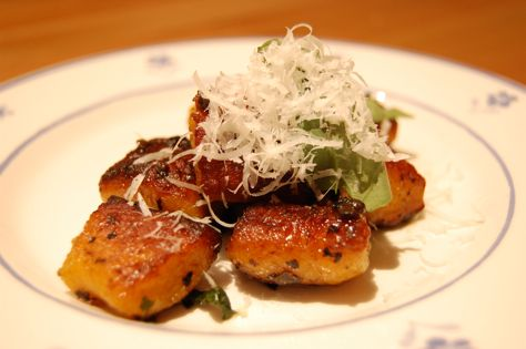 Pan-fried pumpkin gnocchi (from Steamy Kitchen) with truffle paste and ...