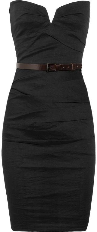 Strapless Stretch Linen Blend Dress in Black