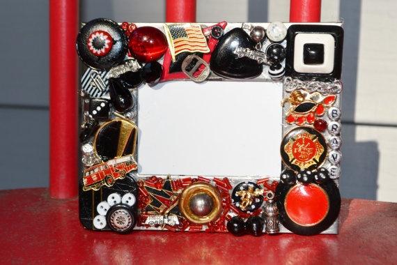 handmade firefighter mosaic frame, jewelry mosaic, firefighter
