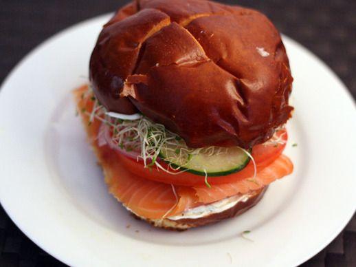 Tonight: Smoked Salmon with Dill Crème Fraiche on Pretzel Bun