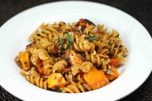 Pasta with butternut squash, sage and pine nuts.