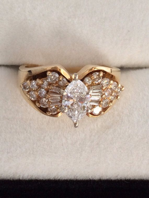 14K Gold VS SI 1 50 Ct Diamond Marquise Unique Engagement Ring Set