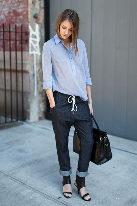 Emerson Shirting - Yarn Dyed Cobalt / Slouch Pant - Rinse Denim / Emerson Big Black Bag / Italian Cuff Heel - Black