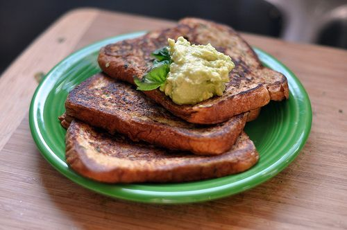 french toast and avocado butter
