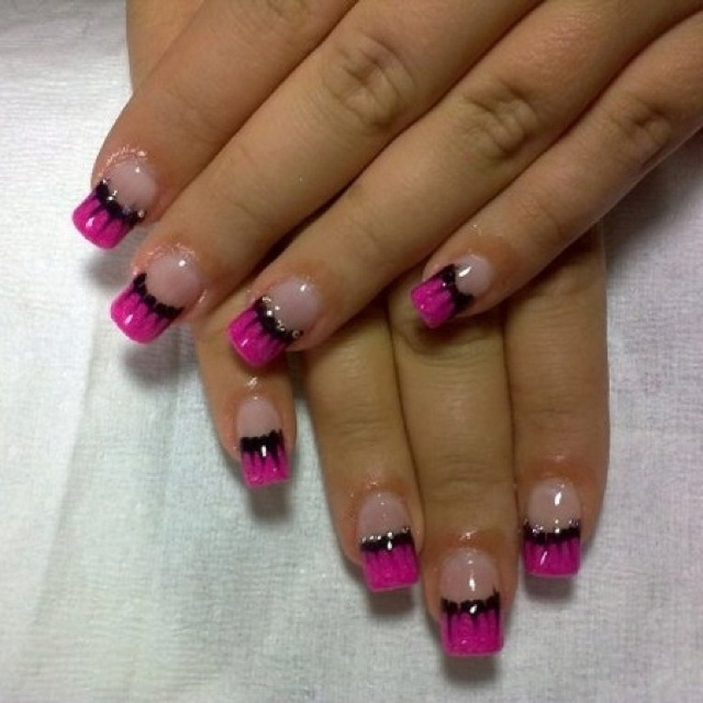 Black And Pink French Tip Nails Pink and black French ...