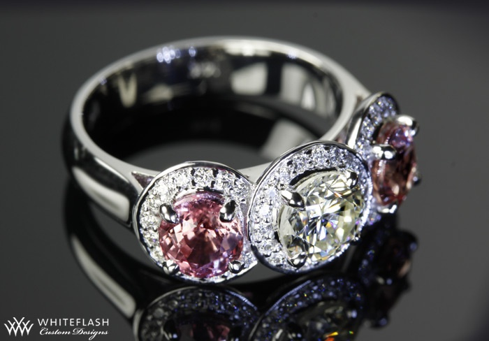 Padparadscha Sapphire and Diamond Ring delights