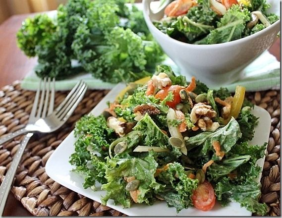 Pumped Up Kale Salad with Hummus Dressing | Recipe