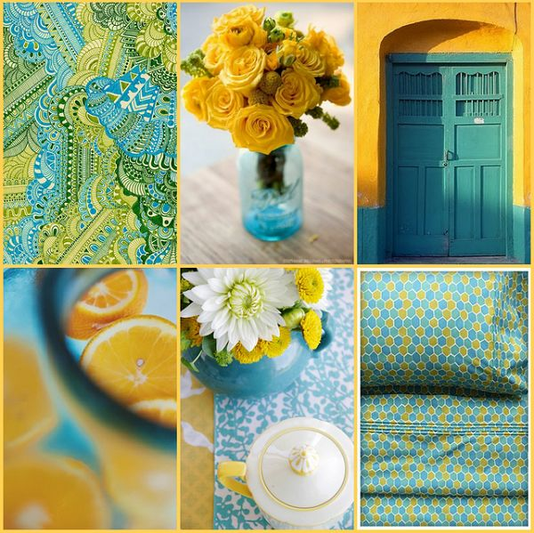 turquoise and yellow color palettes pinterest