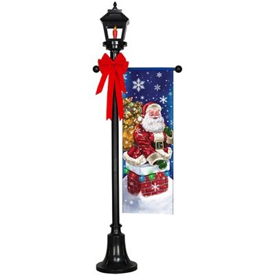 Outdoor holiday lamp post gemmy light show pinterest for Christmas decorations for outside lamp post