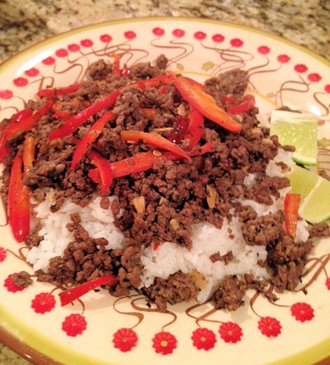 Spicy Thai Beef with Lime Coconut Rice | Lydia's Own Cooking | Pinter ...