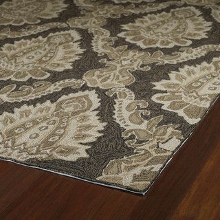 Indoor Outdoor Fiesta Chocolate Damask Rug 3 x 5