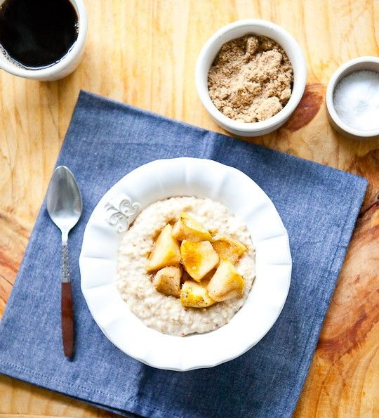 Steel-Cut Oats with Maple-Roasted Apples and Cheddar @Emily Simpson, I ...