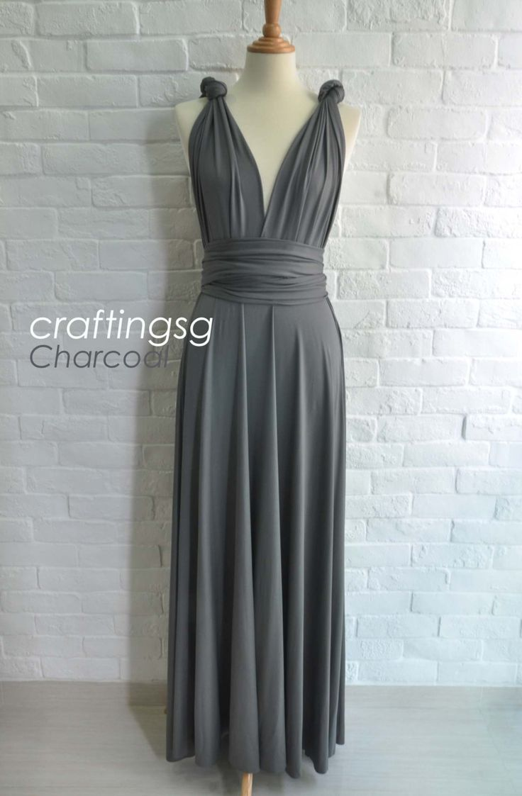 Bridesmaid dress infinity dress charcoal grey floor length for Charcoal dresses for weddings
