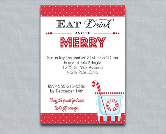 eat drink and be merry printable christmas party