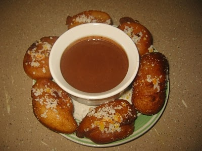 Zeppole With Orange Sugar and Chocolate Sauce