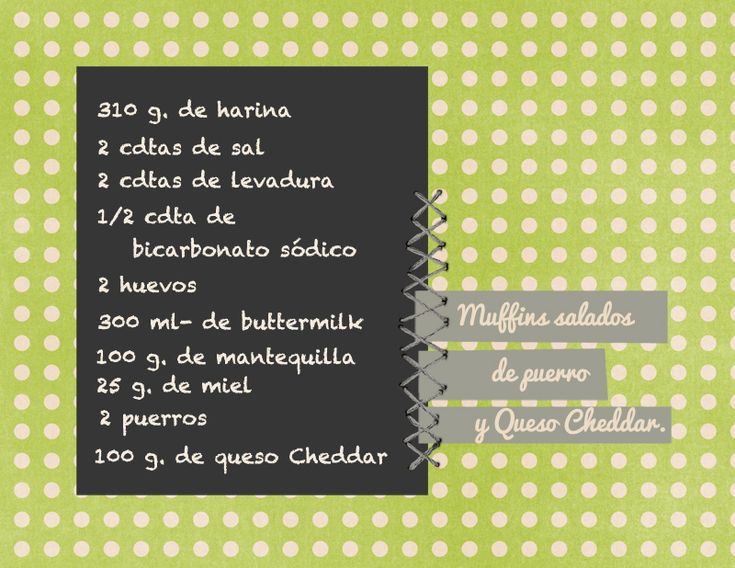 Leek and Cheddar Cheese Muffins (recipe in Spanish)