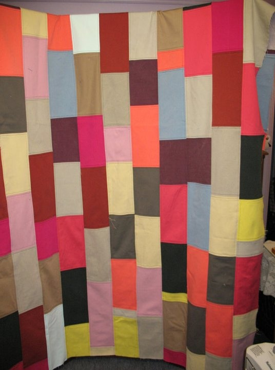 I had been collecting colour jeans for a long time.  Once I got enough I was able to create this quilt.  I like to call it neopolitan sorbet.