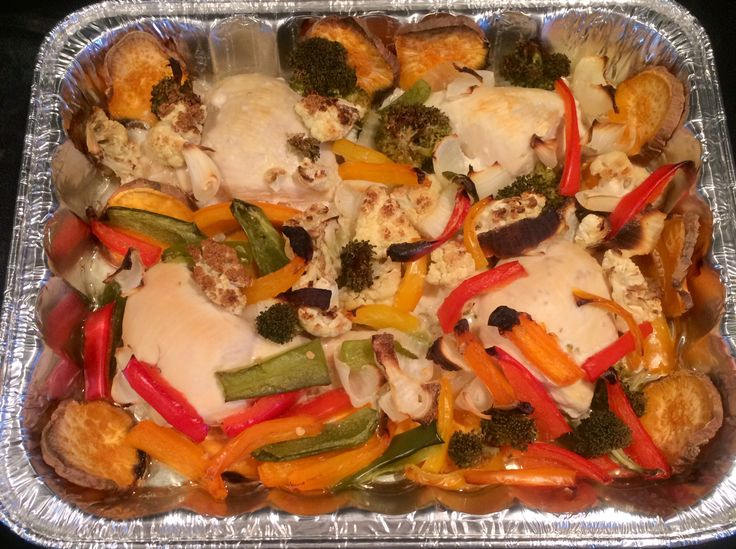 Dinner: baked chicken breasts, sweet potato, peppers, onions, cauliflower, broccoli and extra virgin olive oil.   #nutrition