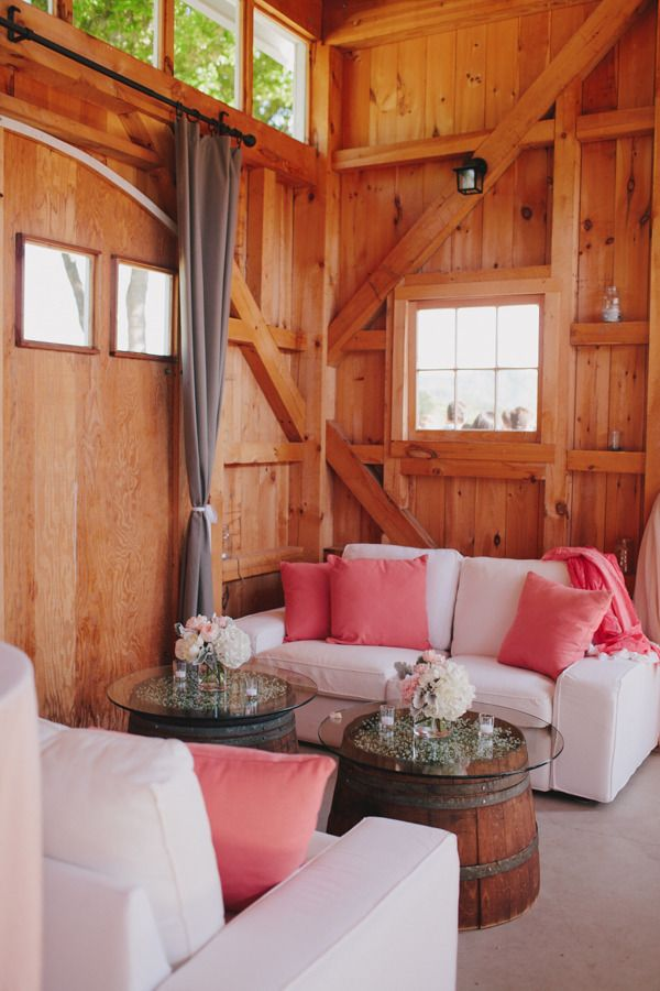 Elegant grey and pink decor in a rustic setting